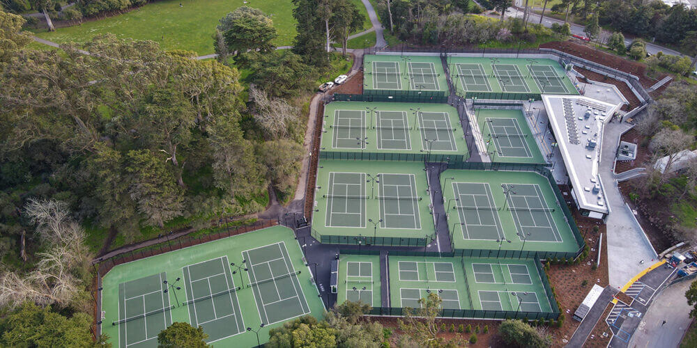 Aerial view of the Goldman Tennis Center